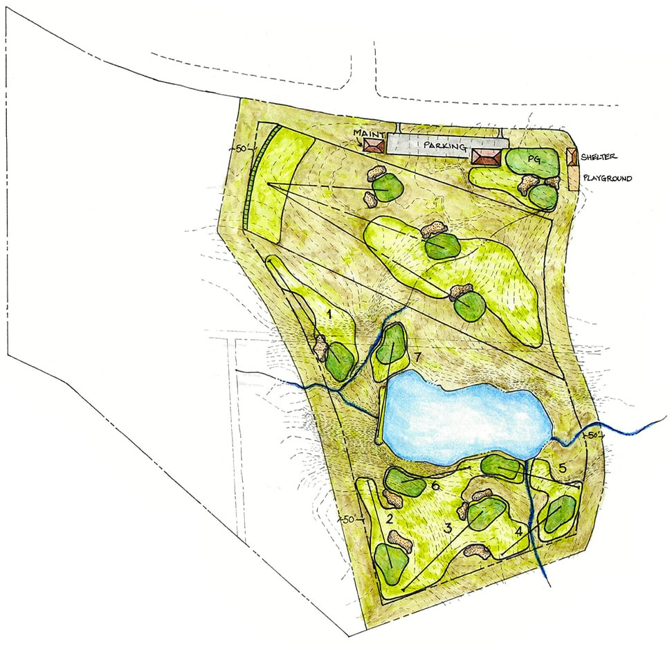 first tee golf course sketch