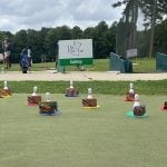 Putting green with obstacles